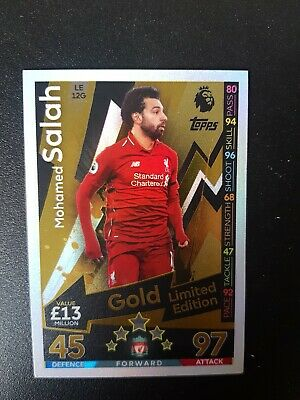 Match Attax Extra 2018/19 Mohamed Salah Gold Limited Edition Trading Card Le12G