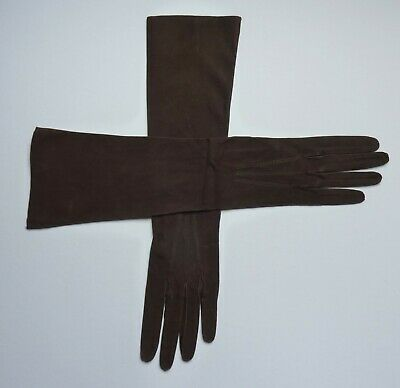 Smart Pair Of Long Vintage Brown Soft Leather Gloves. Size 6 1/2, 1940s 50s