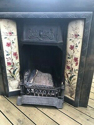 Original victorian tiled cast iron fireplace, surround and hearth