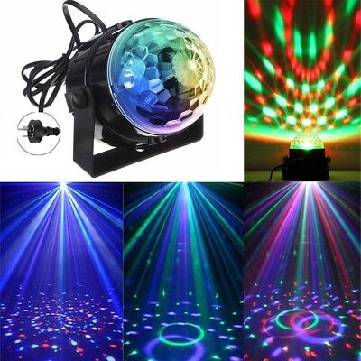 Sound Active RGB LED Stage Light Crystal Ball Disco Xmas Club DJ Party Remote WN