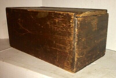 ANTIQUE SLIDE LID CANDLE BOX Carved Wheat 19ThC DOCUMENT BOX Old Dry Finish AAFA
