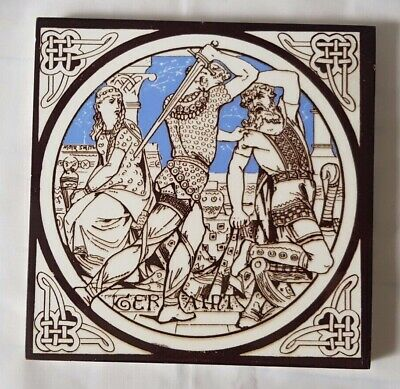 Stunning Minton 19Th Century Moyr-Smith Knight Theme 6 Inch Tile