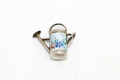 A Pretty Antique Art Deco Sterling Silver Enamelled Watering Can Pendant #15046