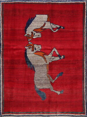 Vintage Gabbe Wool Hand-Knotted Horse Animal Pictorial Oriental Area Rug 4x6