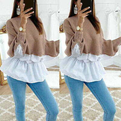 Womens Long Sleeve Frill Ruffle Tops Ladies Casual Loose Pullover T Shirt Blouse