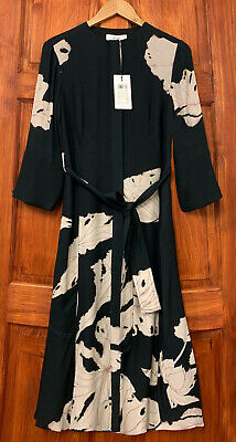 REISS Zana Placement Black Floral Printed Midi Shirt Dress NEW in Sizes 4 to 16