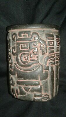 Chavin cup of black stone carved and polished Chavin Stone Beaker, Chimu, Moche