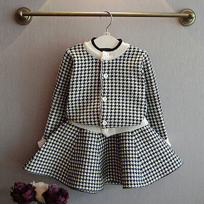 Kids Baby Girls Coat Tops Outfit Clothes Plaid Knitted Sweater Skirt Set