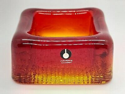 Collectible Pukeberg Scandinavian Glass Square Pin Dish Candle Holder Sweden