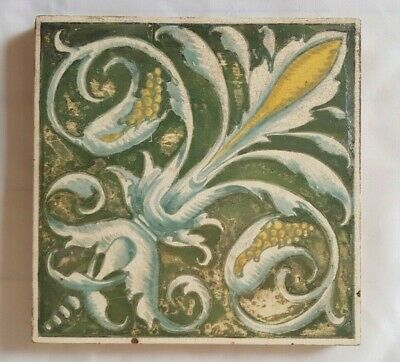 Striking Unusual Minton Hand Painted  Tile Shabby Chic