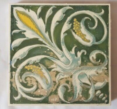 Unusual Minton Hand Painted Regal Design Victorian Tile. Shabby Chic. 19Th C