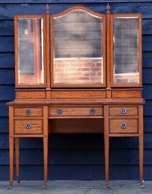 Superb Quality Edwardian Satinwood Dressing Table with Mirrors, Circa 1901.