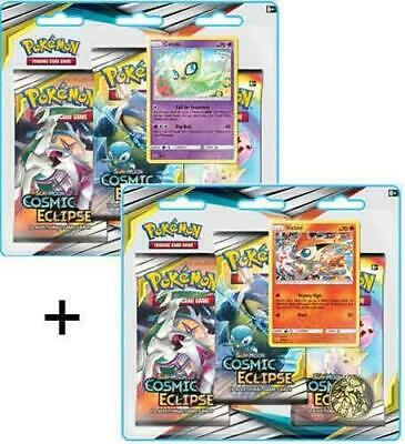 Pokemon Sun and Moon Cosmic Eclipse: BOTH 3-Pack Blister Booster Pack Sets