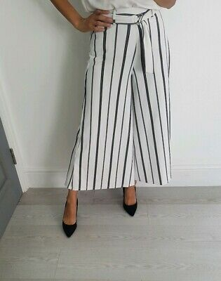 Asos Bershka monochrome white and black stripy wide leg trousers size XS