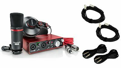Focusrite Scarlett 2i2 Studio (2nd Gen) w/ 2 XLR and 2 TRS Cables Bundle