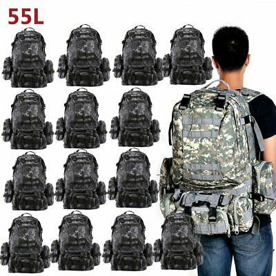LOT 55L Backpack Molle Sport Military Tactical Bag Camping Hiking Rucksack FY
