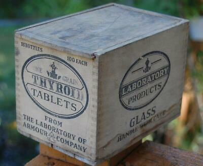 Armour Thyroid Tablets Medicine Bottle Wood Advertising Shipping Box Crate W Lid