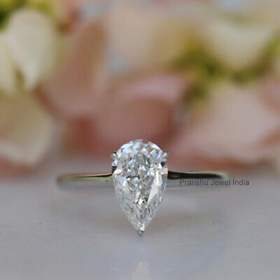 14k White Gold Over 2.00Ct Pear Cut White Moissanite Solitaire Engagement Ring