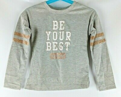 NWT Girl's Reebok T-Shirt Size 3T Gray Be Your Best Glitter Long Sleeve
