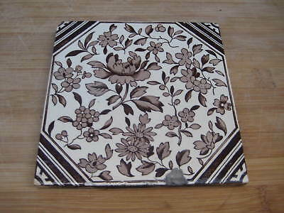 Victorian Period English Tile Aesthetic Transfer Printed Flowers Shabby Chic