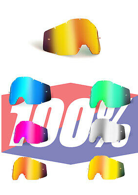REPLACEMENT Goggle LENS for 100% Accuri Strata MOTOCROSS Mirror tinted Clear
