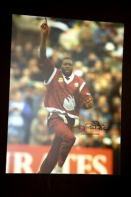 Curtly Ambrose Hand Signed Cricket 12 x16 Photograph : B