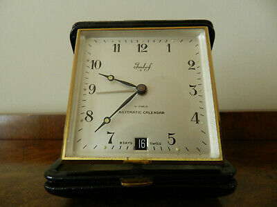 Vintage Imhof Travel Alarm Clock & Date 8 Day Working