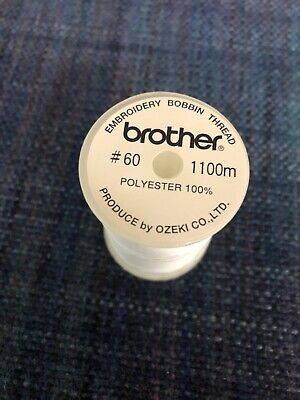 Brother White Embroidery Bobbin Thread 1100 meter One spool SAEBT Genuine,