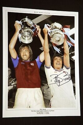 Billy Bonds Hand Signed West Ham United Football 12 x16 Photograph