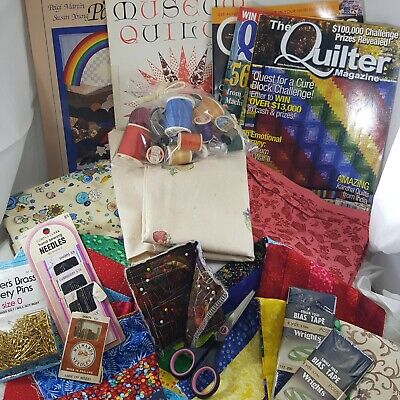 Quilt Box Lot fabric thread needle pattern block scissors quilter art craft