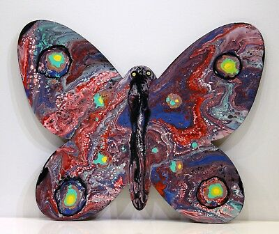 Wooden Butterfly art, Butterfly Wall Art, Kids Room Art, Acrylic Pour Painting