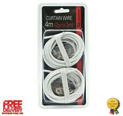 White Net / Voile Curtain Wire Including C Hooks & Eyes 4 Mtr (2PC X 2M)
