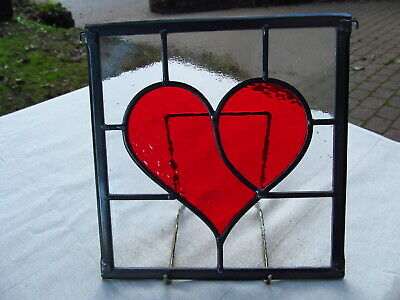 Newly crafted TRADITIONAL Stained Glass Window Panel RED HEART 214mm by 222mm