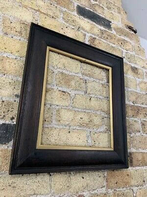Oak Wood Antique Picture Frame with Gold Gilt Slips Medium - Small, c Edwardian