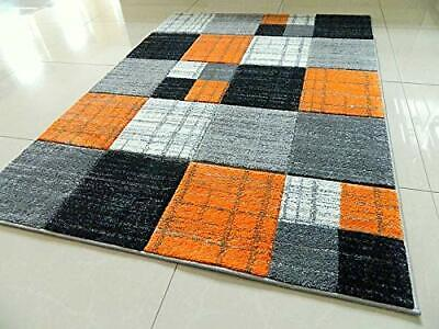 New Orange Squares Thick Hand Carved Soft Heavy Large Area Floor Rug Runner Mats