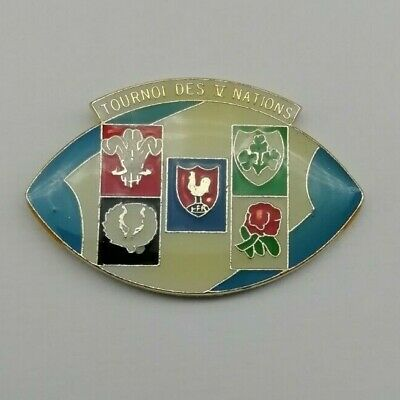 Old Rugby Union 5 Nations Pin Badge, Ireland, Scotland, Wales, England, France