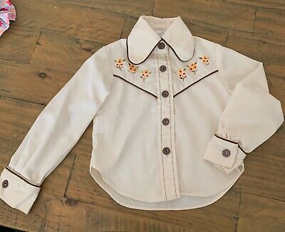 Vintage 70s Infants Cream Floral Embroidered Western Shirt 104cm 2 years?