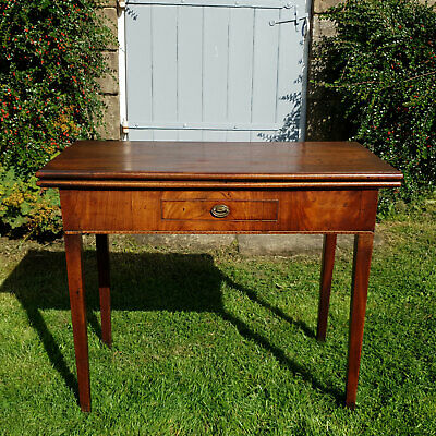 George III Mahogany Console Fold-Over Tea Table with Drawer C1810 (Georgian)