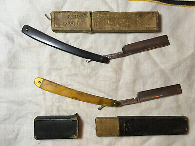 Two Straight Razors Two boxes Vintage Antique Genco Marshall Wells