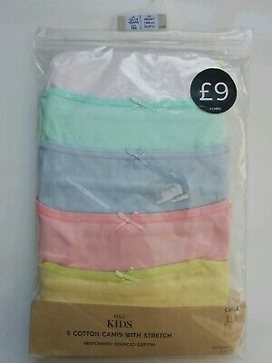 BNWT 5 M&S Cotton Camis with stretch Age 13-14 Years