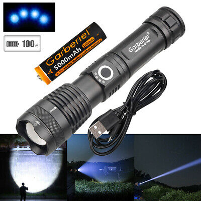 350000Lumen XHP50 Zoomable LED USB Rechargeable 18650 Flashlight Torch + Battery