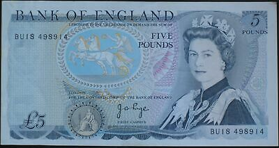 1980's BANK OF ENGLAND FIVE POUND £5 NOTE PAGE CASHIER 100% GENUINE
