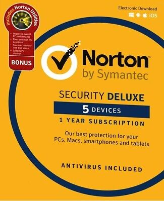 Norton Security DELUXE 2019 5 Devices 1 Year + Norton UTILITIES 3 PCs - DOWNLOAD