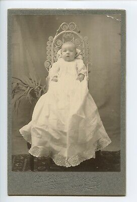 Baby in Christening Gown by Kyle, Colfax, Illinois - Antique Photo Cabinet Card