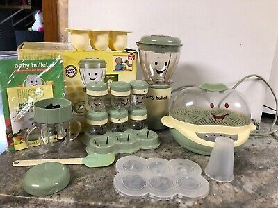 BABY BULLET FOOD MAKING SYSTEM ~ FOOD PROCESSOR & TURBO STEAMER Lot W/ Recipes
