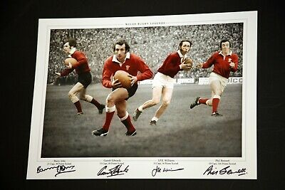Wales Rugby Photograph Hand Signed By Edwards, Bennett, Williams and John