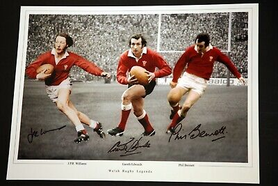 Wales Rugby Photograph Hand Signed By Edwards, Bennett, Williams