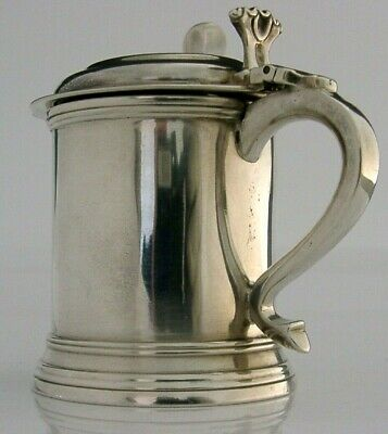 LARGE HEAVY ENGLISH SOLID SILVER TANKARD MUSTARD POT 1904 ANTIQUE 204g ANTIQUE