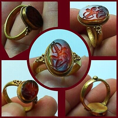 Rare ancient Roman Near Eastern carnealian Gold intaglio Ring 2nd to 4th Century