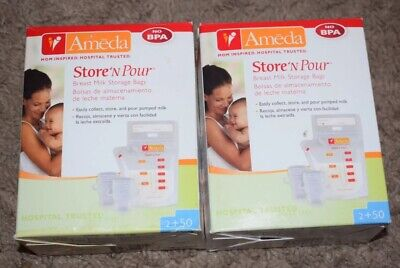 Lot Of 2 Ameda Store 'N Pour Breast Milk Storage Bags 50 Count 2 Pump Adapters